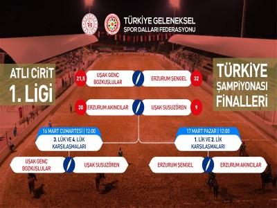 GSDF Atlı Cirit 1.Ligi Finallerinde ilk gün müsabakaları tamamlandı.