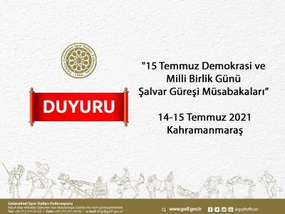 15 Temmuz Demokrasi ve Milli Birlik Günü Şalvar Güreşi Müsabakaları 14-15 Temmuz 2021 Kahramanmaraş