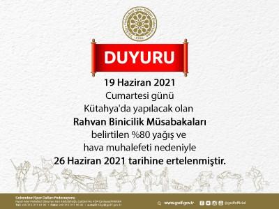 Rahvan Binicilik Müsabakaları 26 Haziran 2021 tarihine ertelenmiştir