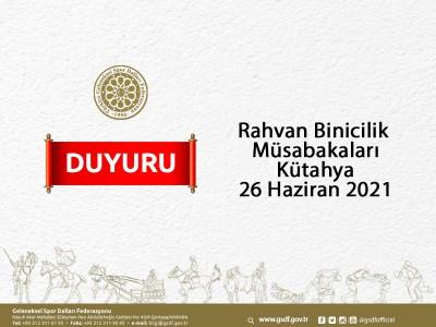 Rahvan Binicilik Müsabaka Başvurusu - Kütahya 26 Haziran 2021